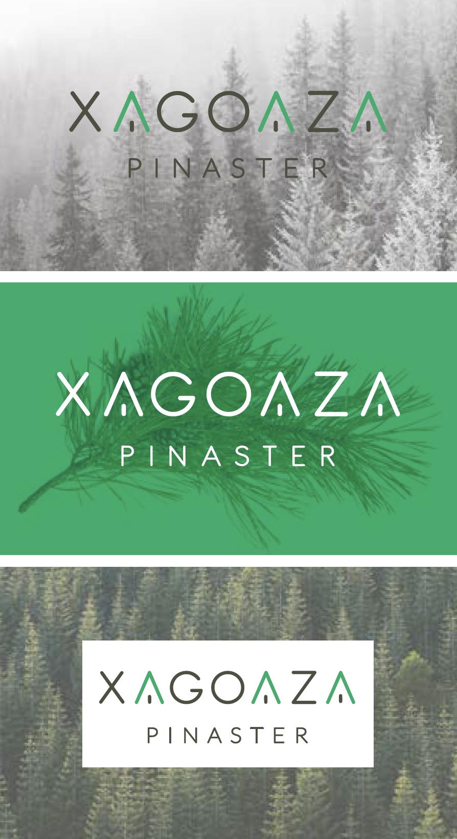 Logo Xagoaza Pinaster contratipo y sobre imagen logotipos pegadizos